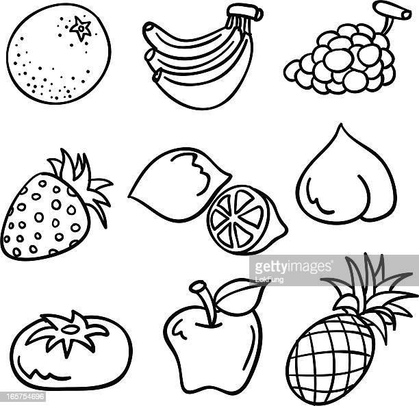 illustrations, cliparts, dessins animés et icônes de collection de fruits en noir et blanc - ananas