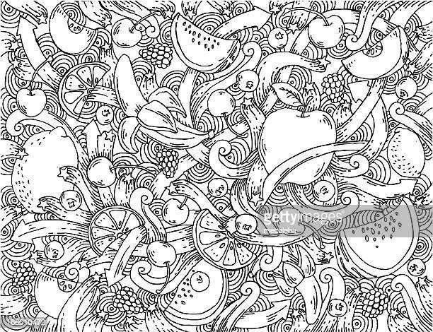fruit doodle background - apple fruit stock illustrations, clip art, cartoons, & icons