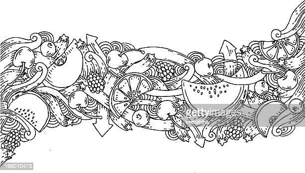 fruit doodle background - serving size stock illustrations, clip art, cartoons, & icons