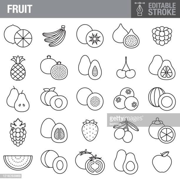 illustrations, cliparts, dessins animés et icônes de ensemble d'icônes de course modifiable de fruit - pastèque
