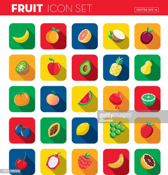fruit flat design themed icon set with shadow - antioxidant stock illustrations, clip art, cartoons, & icons