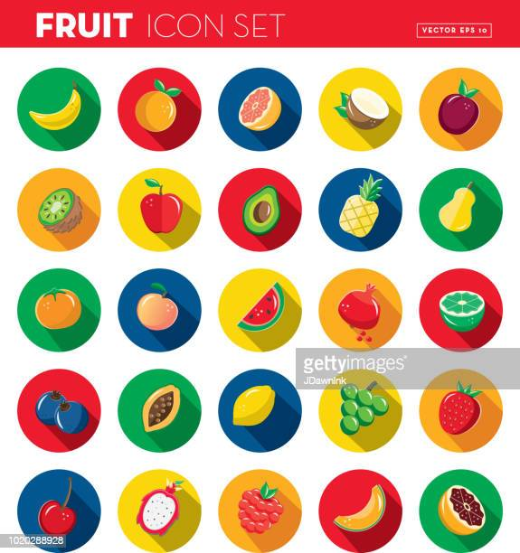 fruit flat design themed icon set with shadow - raspberry stock illustrations, clip art, cartoons, & icons