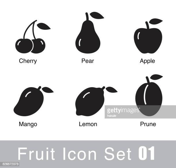 fruit flat icon design - apple fruit stock illustrations