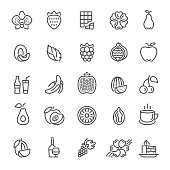 Fruit, flavors, additives and flavorings icons