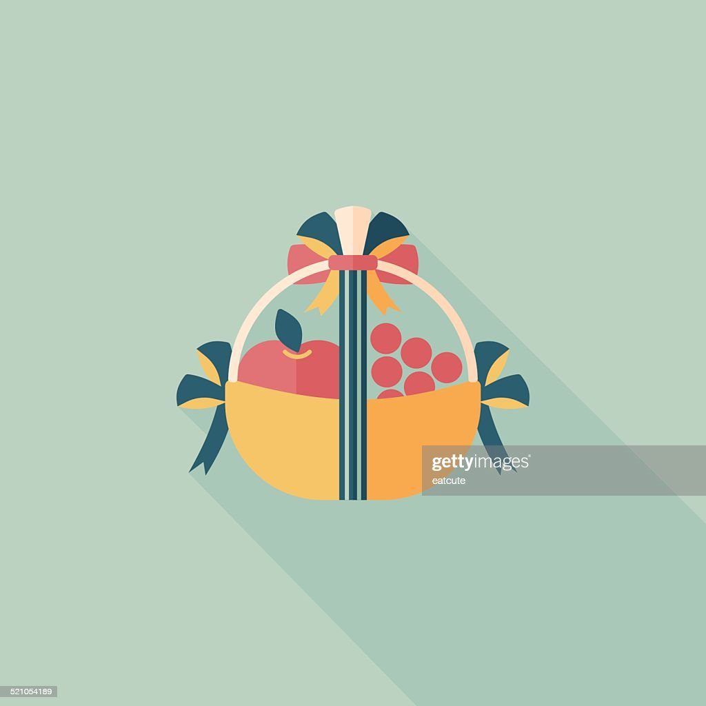 Fruit gift baskets flat icon with long shadow,eps10