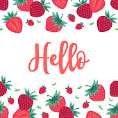 Fruit greeting card with seamless border - strawberry