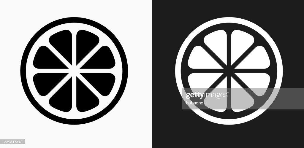 Fruit Icon on Black and White Vector Backgrounds