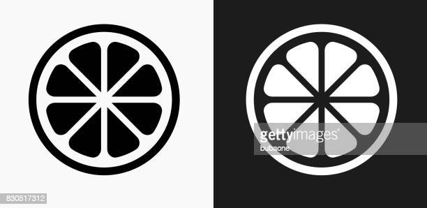 fruit icon on black and white vector backgrounds - lemon stock illustrations