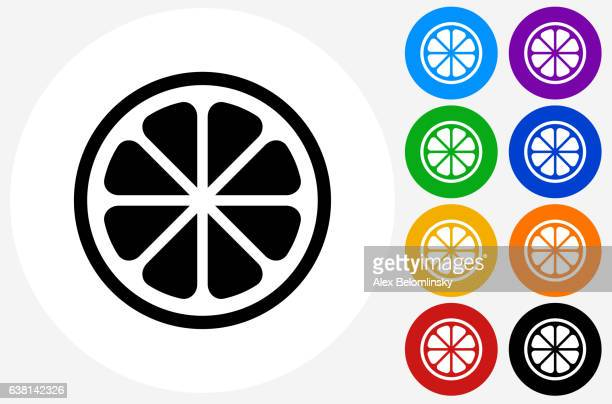 Fruit Icon on Flat Color Circle Buttons