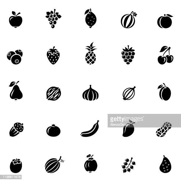 fruit icon set - apple fruit stock illustrations