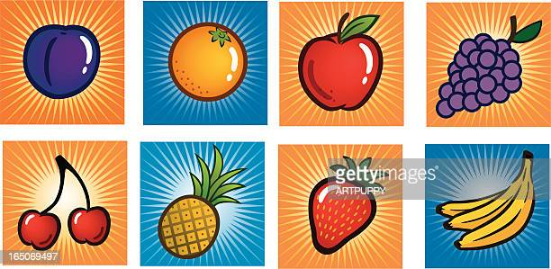 fruit icon set - slot machine stock illustrations, clip art, cartoons, & icons