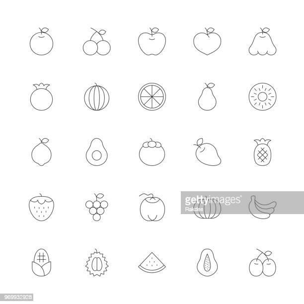 illustrations, cliparts, dessins animés et icônes de icône de fruits - série ultra thin line - ananas