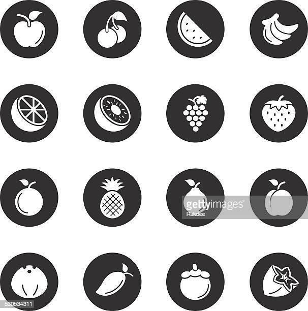 Fruit Icons - Black Circle Series