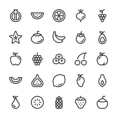 Fruit Icons - MediumX Line - gettyimageskorea