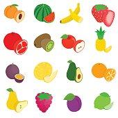 Fruit icons set, isometric 3d style