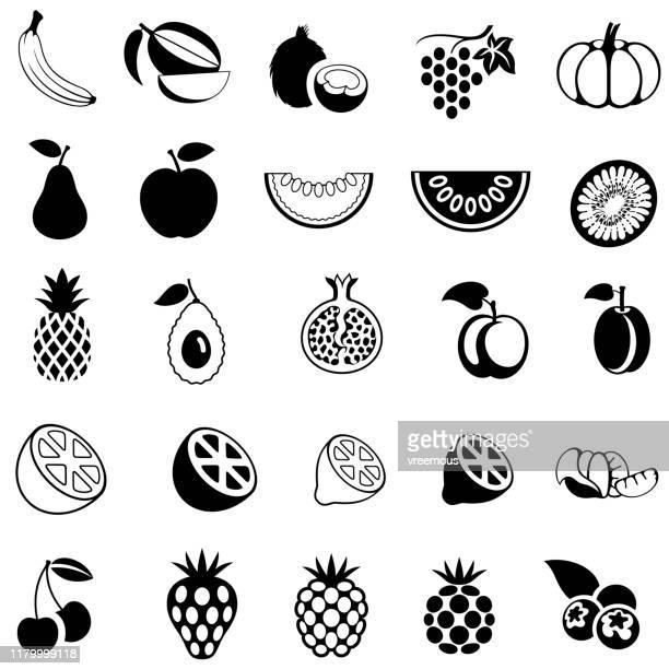 illustrations, cliparts, dessins animés et icônes de ensemble d'icônes de fruits - ananas