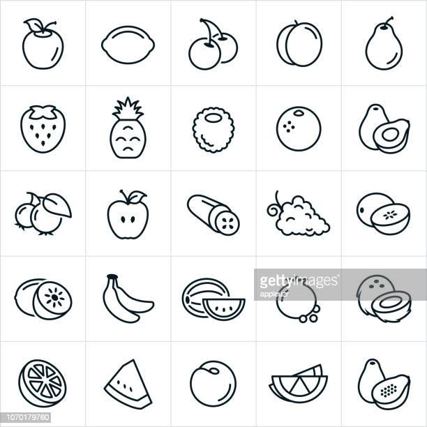 fruit icons - apple fruit stock illustrations