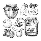 Fruit jam glass jar vector drawing. Jelly and marmalade with strawberry, cherry, blueberry, apple, pear, apricot, plum.