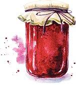 Fruit jam. Mason jar. Watercolor. Hand painted.