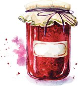 Fruit jam with a sticker. Mason jar. Watercolor. Hand painted