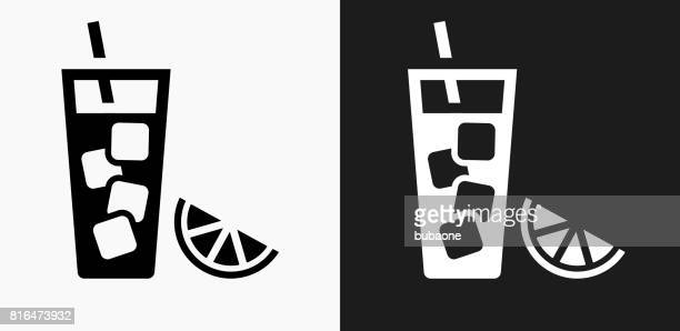 Fruit Juice Icon on Black and White Vector Backgrounds