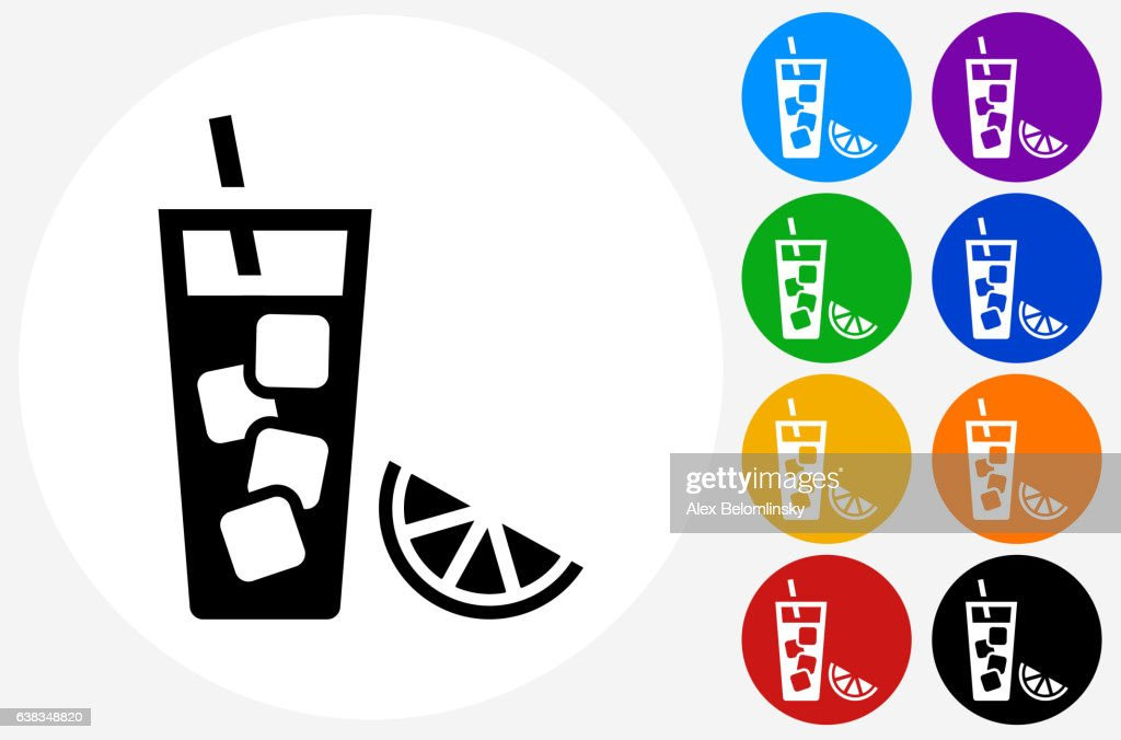 Fruit Juice Icon on Flat Color Circle Buttons