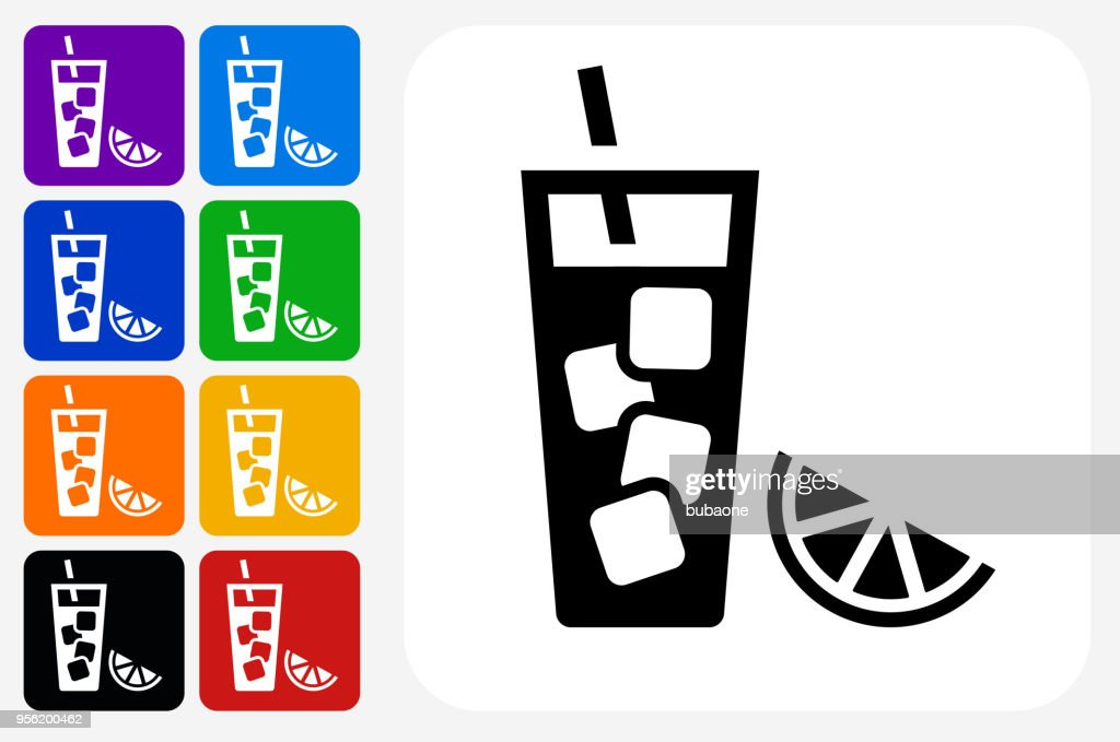 Fruit Juice Icon Square Button Set : stock illustration