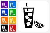 Fruit Juice Icon Square Button Set