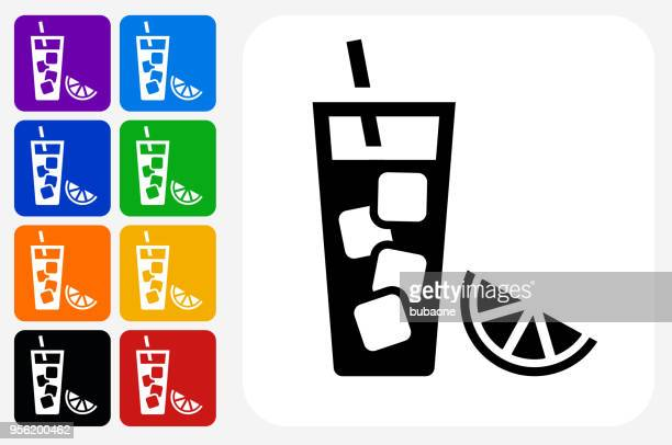 Fruit Juice Icon Square Button Set