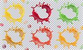 Fruit juice, splashes of paint. 3d vector icon set