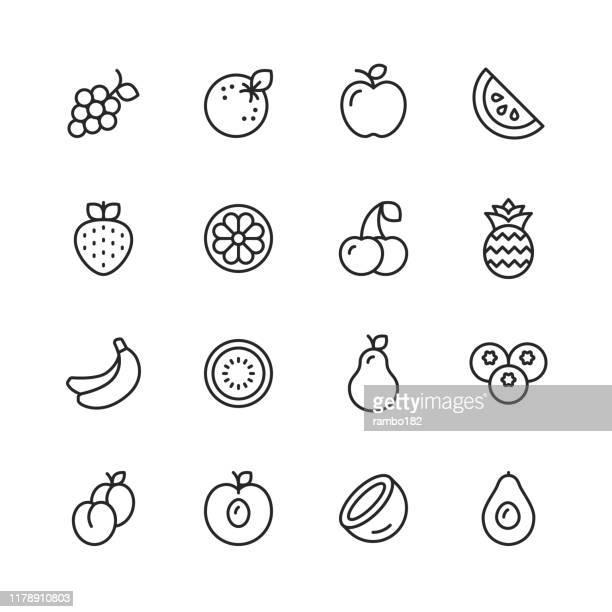ilustrações, clipart, desenhos animados e ícones de linha ícones da fruta. traçado editável. pixel perfeito. para mobile e web. contém ícones como melancia, laranja, banana, pêra, abacaxi, uvas, maçã. - sobremesa