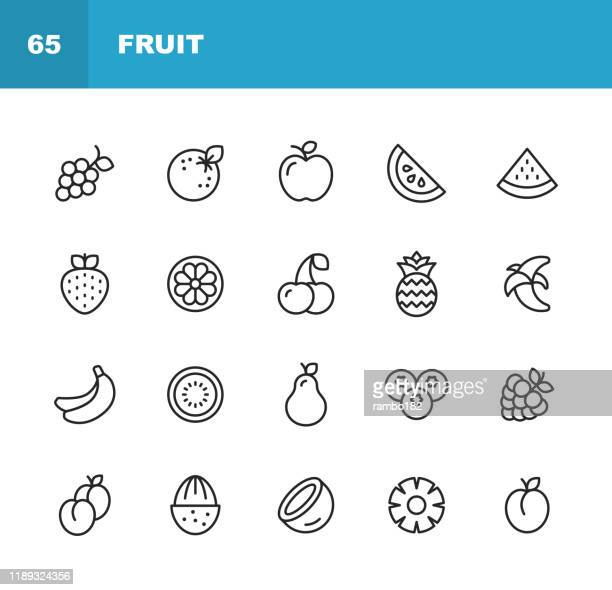 フルーツラインアイコン。編集可能なストローク。ピクセルパーフェクト。モバイルおよび web 用。スイカ、オレンジ、バナナ、梨、パイナップル、ブドウ、アップルなどのアイコンが含ま� - 食材点のイラスト素材/クリップアート素材/マンガ素材/アイコン素材