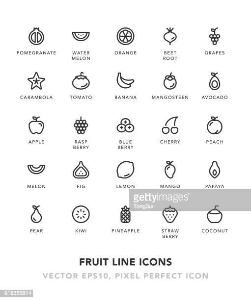 fruit line icons - apple fruit stock illustrations