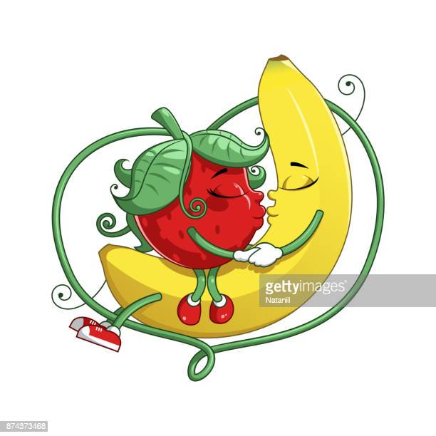 fruit love - kissing on the mouth stock illustrations, clip art, cartoons, & icons