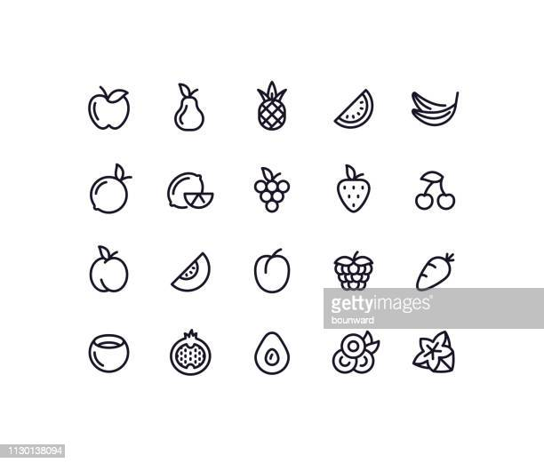 fruit outline icons - fruit stock illustrations