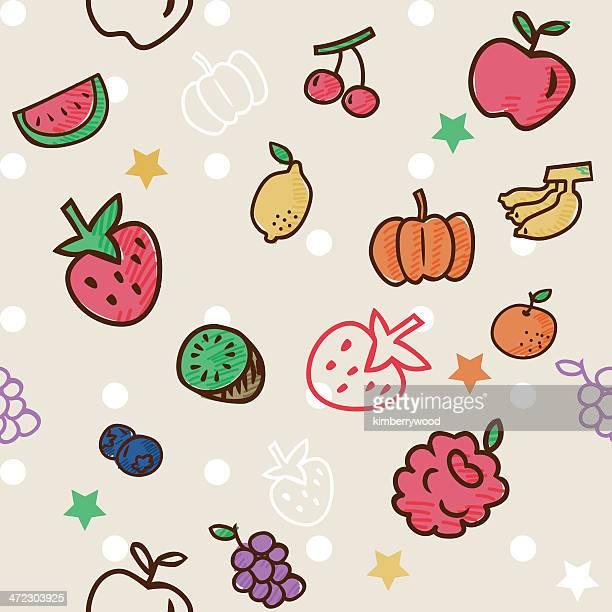 fruit pattern - apple fruit stock illustrations, clip art, cartoons, & icons