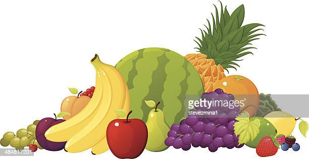 fruit pile - juicy stock illustrations, clip art, cartoons, & icons