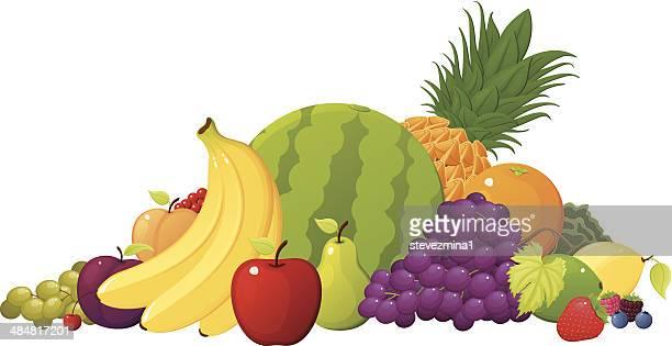 ilustrações, clipart, desenhos animados e ícones de pilha de frutas - fruta