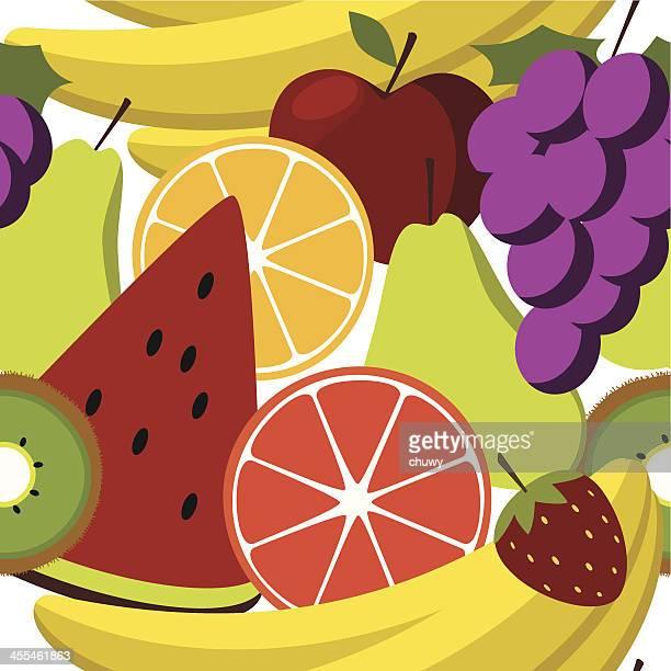 ilustraciones, imágenes clip art, dibujos animados e iconos de stock de ensalada de fruta seamess patrón - pomelo rosa