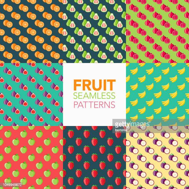 fruit seamless pattern set - juicy stock illustrations, clip art, cartoons, & icons