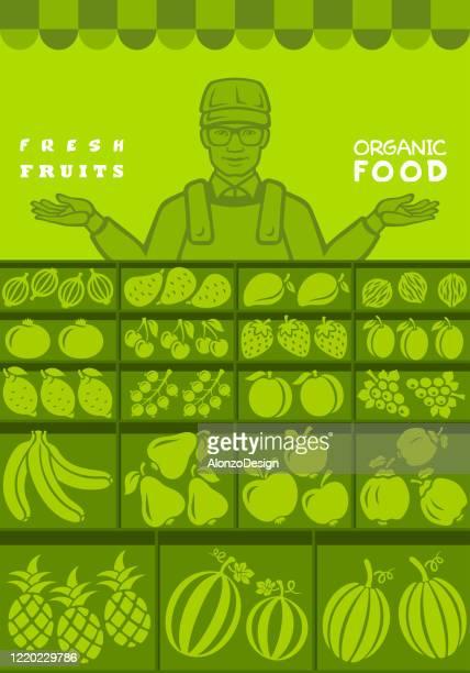 ilustraciones, imágenes clip art, dibujos animados e iconos de stock de vendedor de frutas. mercado local de puestos. - puesto de mercado