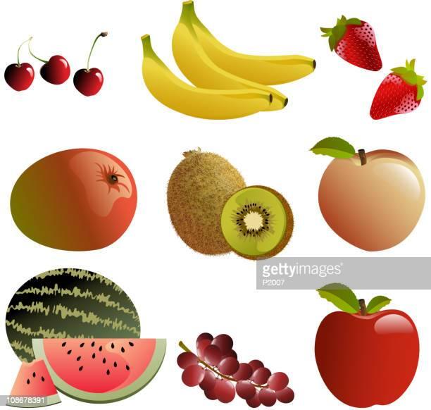 Conjunto de frutas, ilustração