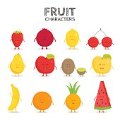 Fruit set. Strawberry, pomegranate, lemon, cherry, pear, apple, kiwi, banana,