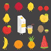 Fruit set. Vector cartoon Friends forever Comic characters