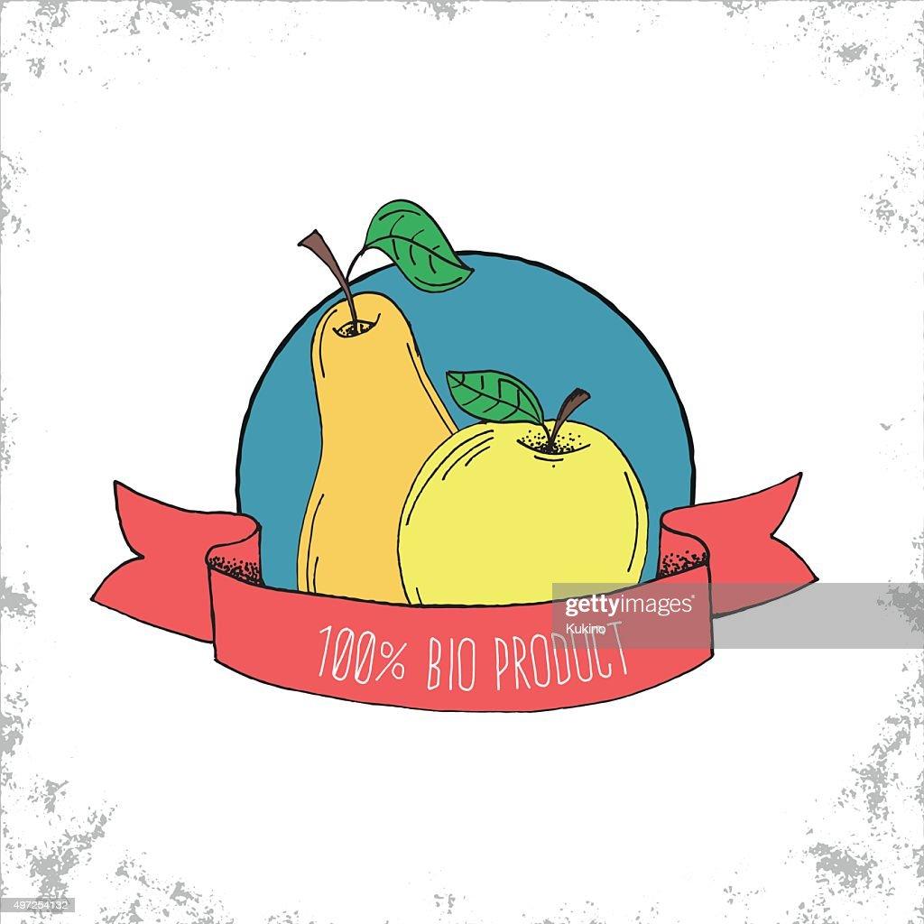 Fruit Shop Bio Label Isolated on White Background