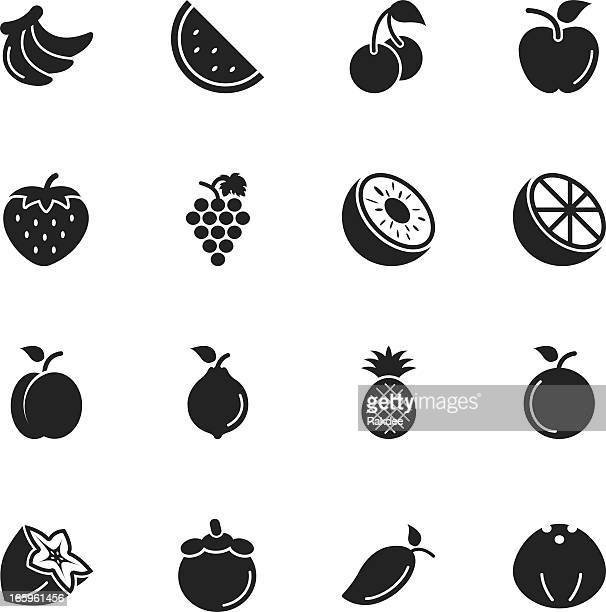 fruit silhouette icons - mango fruit stock illustrations, clip art, cartoons, & icons
