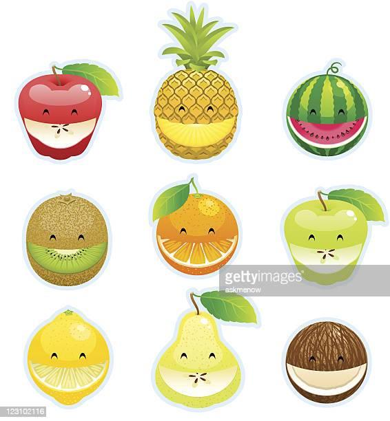illustrations, cliparts, dessins animés et icônes de smileys de fruits - pastèque