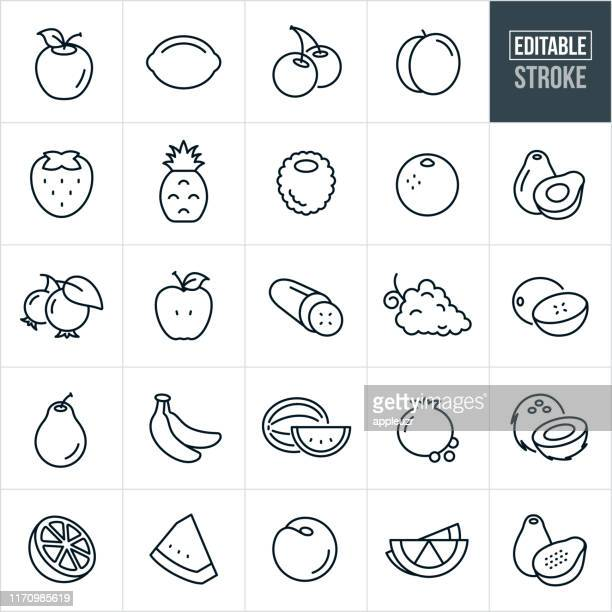 fruit thin line icons - editable stroke - healthy eating stock illustrations
