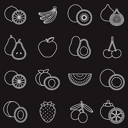 Fruit Thin Line Outline Icon Set - gettyimageskorea