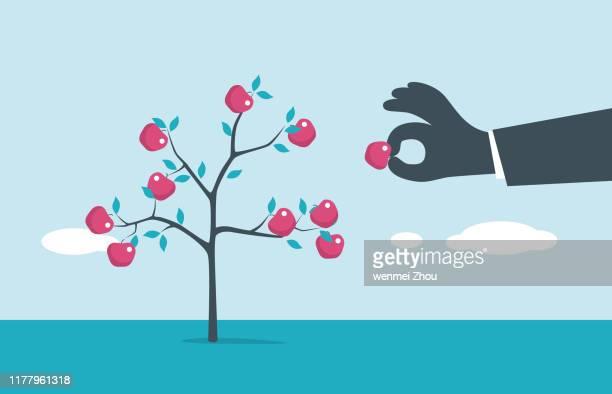 fruit tree - stealing stock illustrations